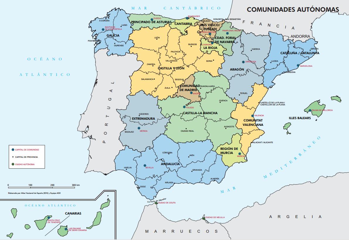 Mapa político España primaria Comunidades Autónomas